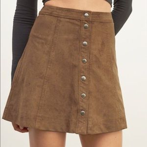 abercrombie brown suede skirt